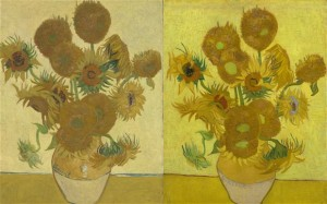 The World Famous Sunflowers paintings by Van Gogh at National Gallery in London